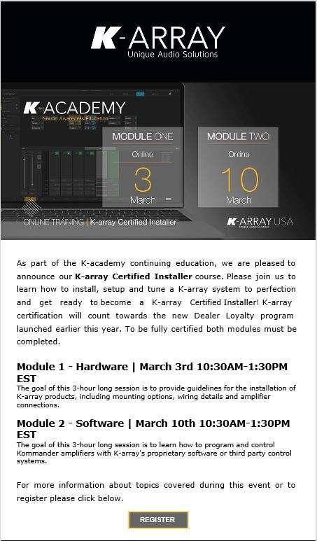 K-array Certified Installer Course